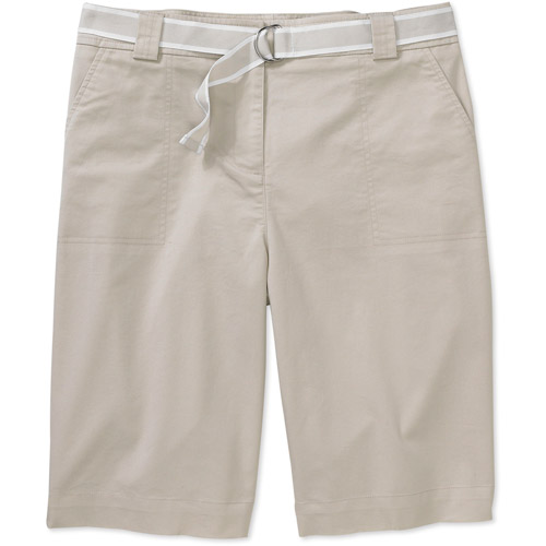 White Stag - Women's Belted Structured Twill Bermuda Shorts