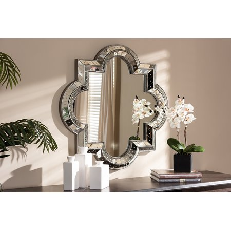 Baxton Studio Catia Art Deco Antique Silver Finished Quatrefoil Accent Wall - Art Deco Bathroom Fixtures