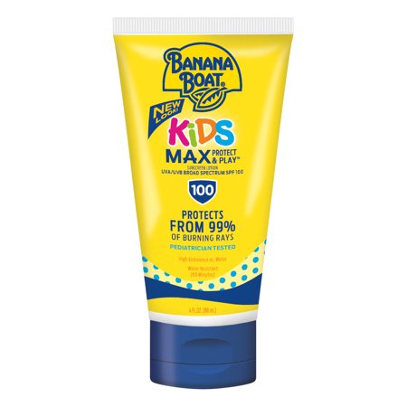 Banana Boat Kids Max Protect & Play Sunscreen Lotion SPF 100, 4 (Best Equate Banana Boat Lotion For Kids)