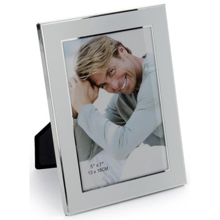 Silver Plated Photo Frame With Reflective Beveled Edges Displays 5 x 7-Inch Pictures - Sold In Sets Of 6 (19WY57)