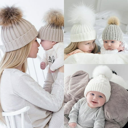 43bfcf4b2650 Emmababy - Newborn Baby Warm Winter Knit Beanie Fur Pom Hat Kids ...