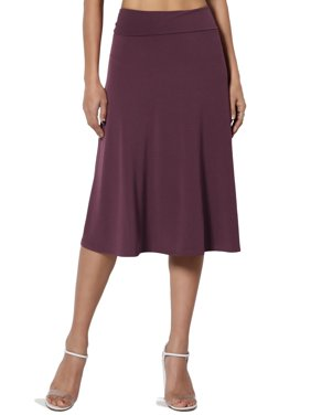 TheMogan Women's S~3X Simple Comfy Basic Stretch A-Line Flared Knee Length Skirt