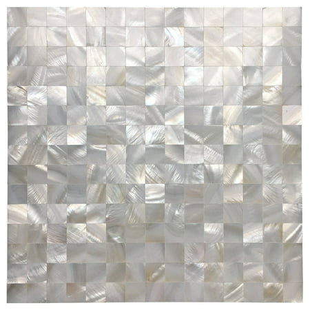 "Peel and Stick Mother of Pearl Shell Tile for Kitchen Backsplash White Square 12"" x 12"" (6 Pack)"