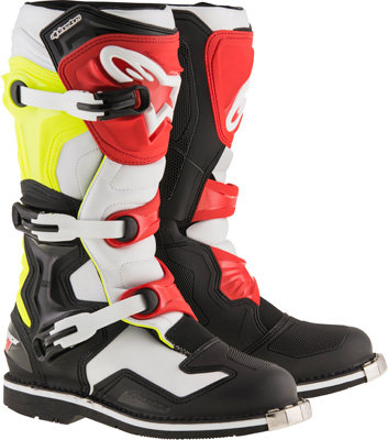 ALPINESTAR Tech 1 MOTORCYCLE BOOTS BLACK/WHITE/YELLOW/RED Size 15 ...