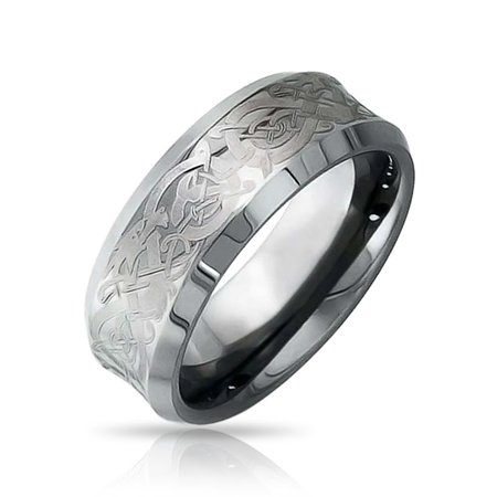 Silver Tone Celtic Knot Dragon Inlay Couples Concave Wedding Band Tungsten Rings For Men For Women Comfort Fit -