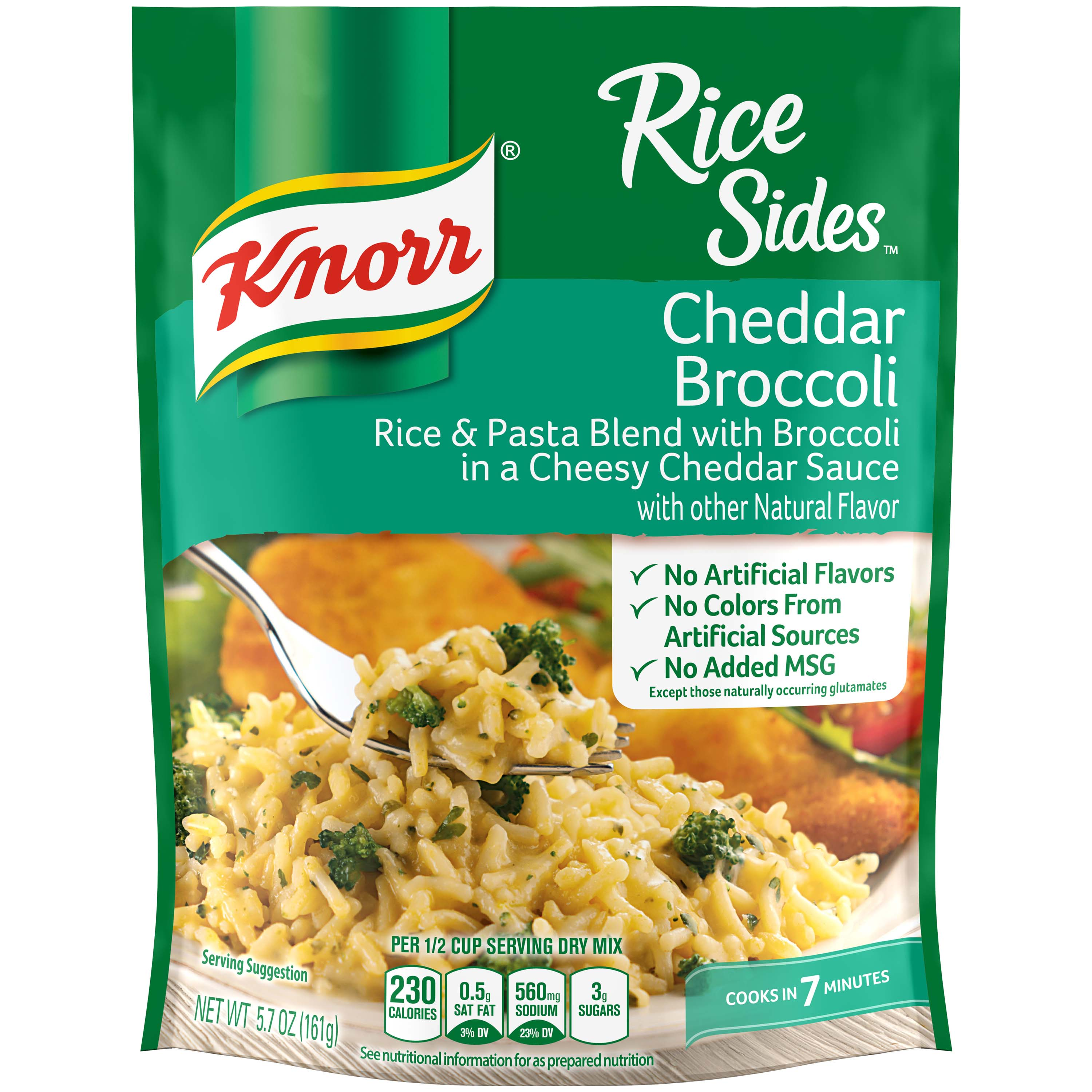 (3 Pack) Knorr Cheddar Broccoli Rice Side Dish, 5.7 oz
