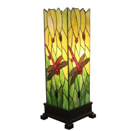 Amora Lighting Tiffany Style AM024TL05 18-inch Dragonfly Table Lamp Green Tiffany Lamp