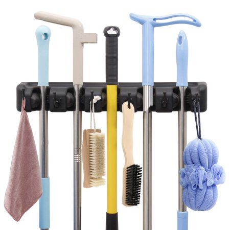 Reactionnx Mop Broom Holder, Wall Mounted Garden Tool Organizer Space Saving Storage Rack Hanger with 5 Position with 6 Hooks Strong Grip Holds up to 11 Tools for Kitchen Garden and Garage