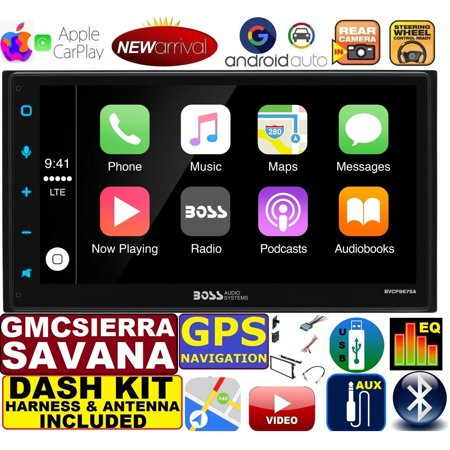 GMC SIERRA SAVANA GPS APPLE CARPLAY NAVIGATION (works with IPHONE) AM/FM  USB/BLUETOOTH CAR RADIO STEREO PKG  INCL  VEHICLE HARDWARE: DASH KIT, WIRE
