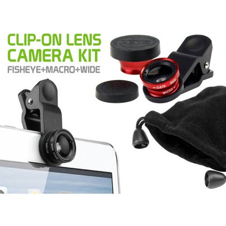 Cellet Universal 3-in-1 Phone Camera Kit Lens – Fisheye, Wide Angle and Macro Clip-on Camera Lens (with Travel Bag and Protective Cover Lens) for Smartphones, ipaads, table ts and More