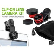 Cellet Universal 3-in-1 Phone Camera Kit Lens – Fish-eye, Wide Angle and Macro Clip-on Camera Lens (with Travel Bag and Protective Cover Lens) for Smartphones, iPad, tablet and More