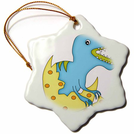 3dRose Blue and Green Dinosaur Hatching From A Yellow and Orange Egg Illustration, Snowflake Ornament, Porcelain, 3-inch (Dinosaur Egg Hatching)