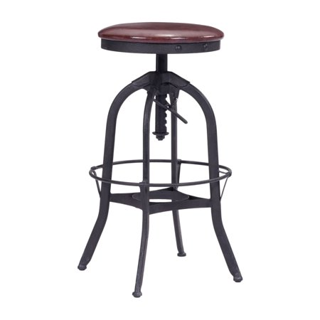 Contemporary Urban Industrial Antique Vintage Style Living Kitchen Barstool, Black - Faux Leather Leatherette Plywood, (Faux Vintage Antique)
