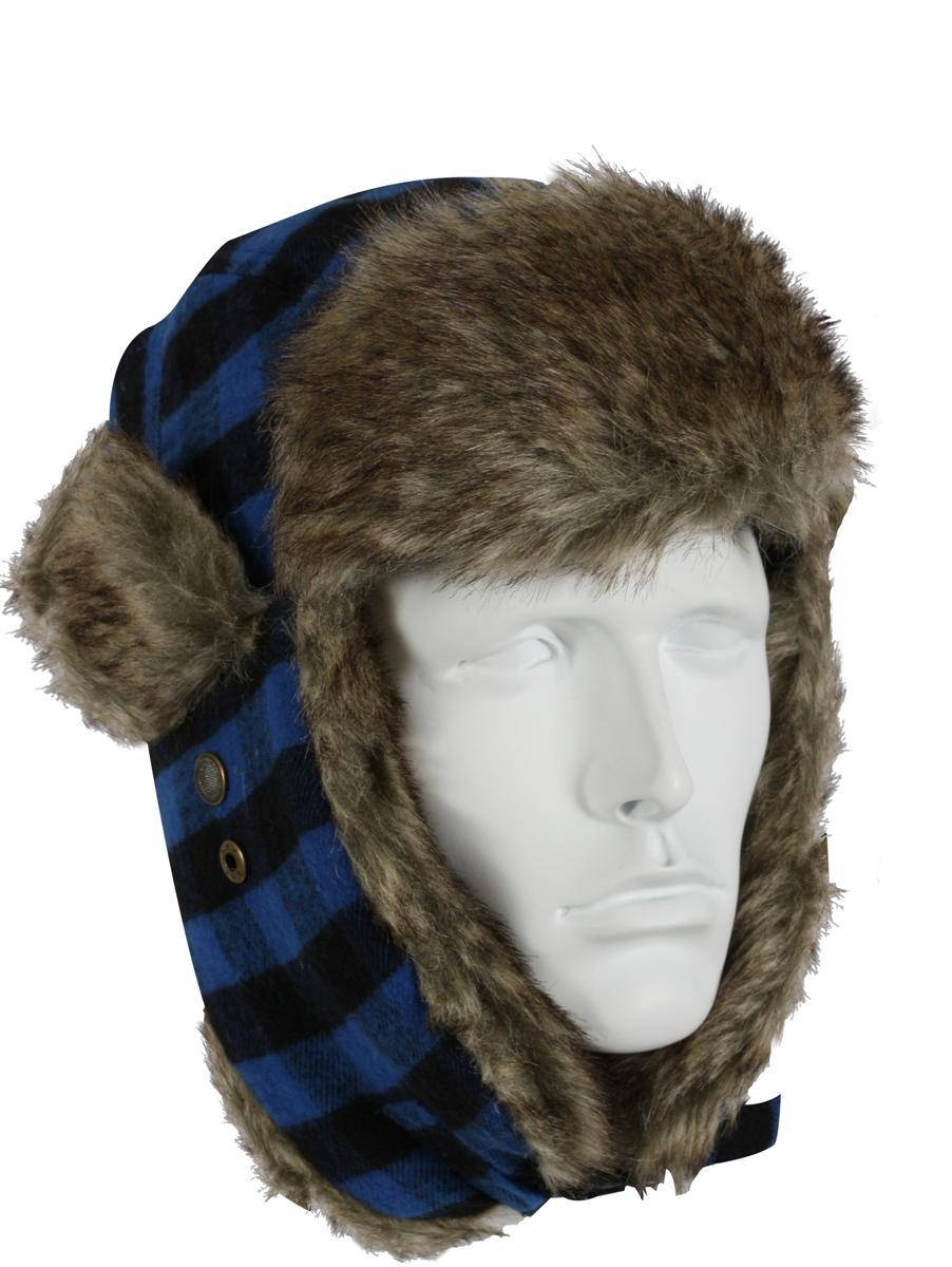 Vintage Flyers Winter Hat, Blue Plaid w GreyFur by Rothco