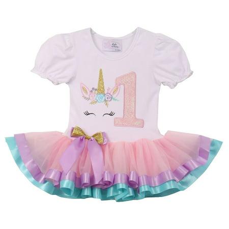 Short Sleeve Tutu - Baby Girls Cute Short Sleeve Unicorn Number Birthday Party Girl Tutu Dresses Pink 1 YR (TUC19C06N)