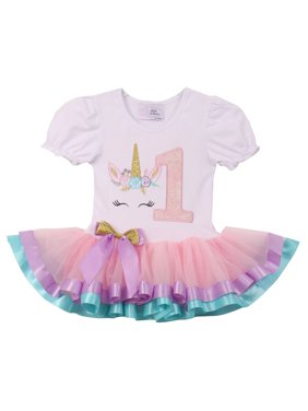 be1c8d355 Product Image Baby Girls Cute Short Sleeve Unicorn Number Birthday Party  Girl Tutu Dresses Pink 1 YR (