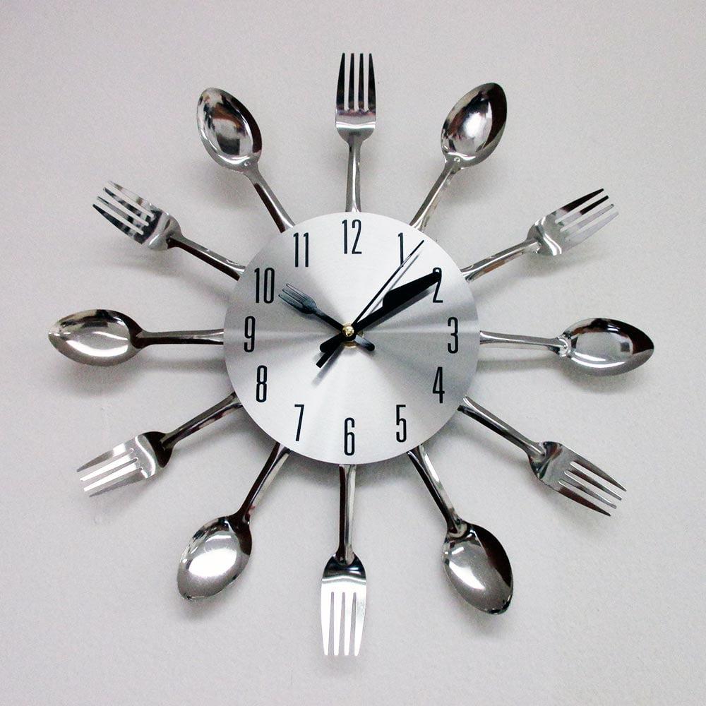 Modern Design Silver Cutlery Kitchen Utensil Clock Spoon Fork Knife ...