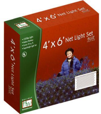 Noma/Inliten-Import 48954-88 Christmas Net Light Set, Blue, 150-Ct., 4 x 6-Ft.
