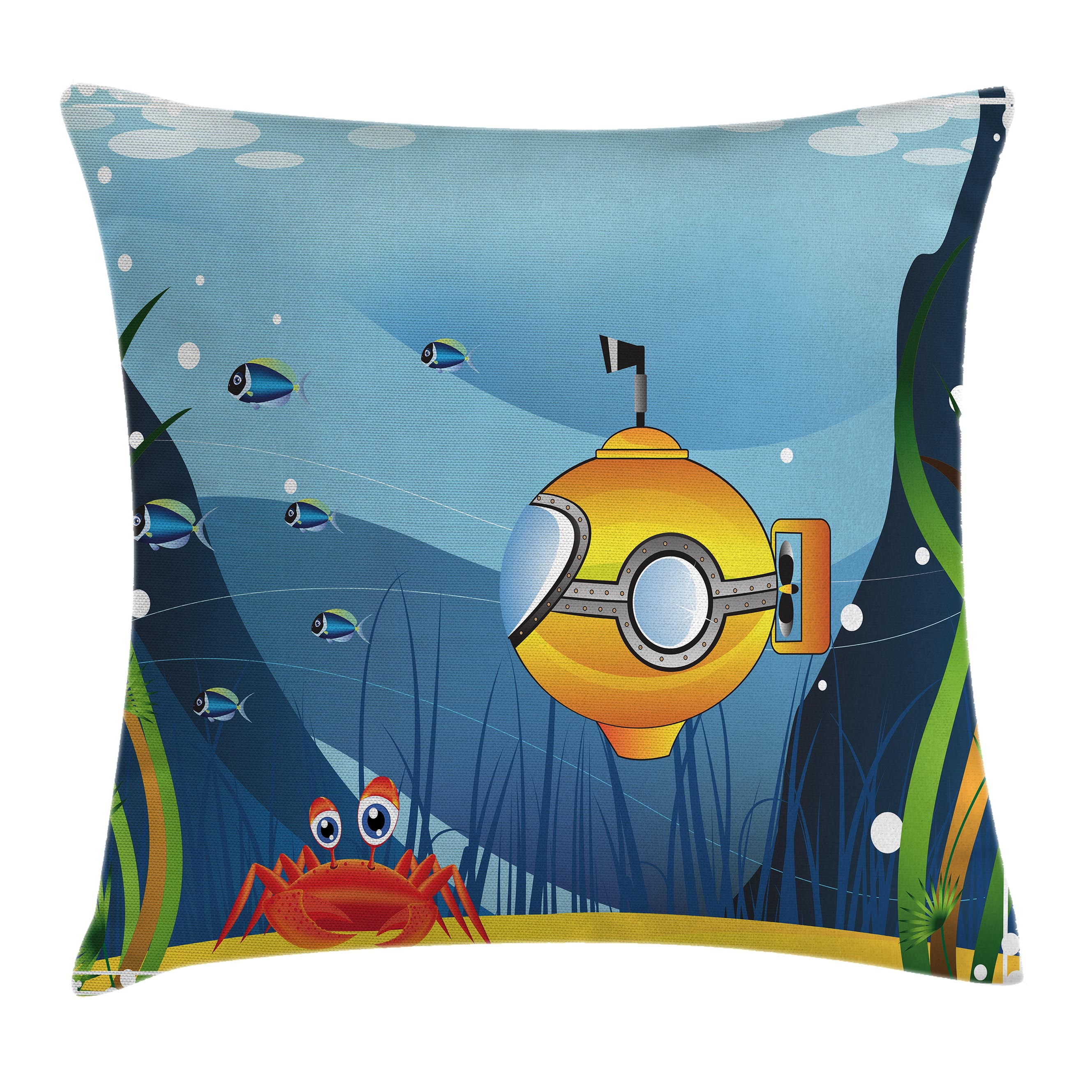 Yellow Submarine Decor Throw Pillow Cushion Cover, Illustration of a Submarine a Crab and Fish under the Sea Print, Decorative Square Accent Pillow Case, 16 X 16 Inches, Marigold Blue, by Ambesonne