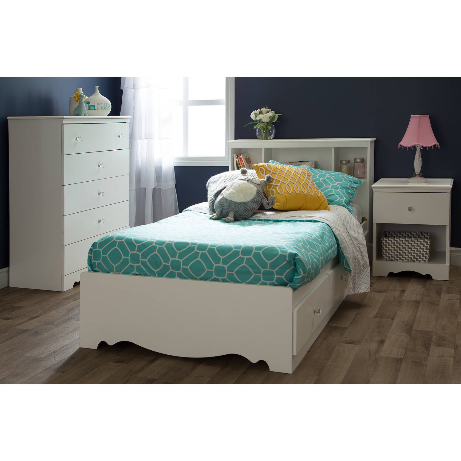 South Shore Crystal Twin Storage Bed 39 with 3 Drawers Pure