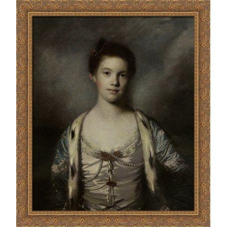 Portrait of Bridget Moris in a White Silk Dress 28x34 Large Gold Ornate Wood Framed Canvas Art by Joshua Reynolds - Large Art Silk