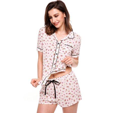 Womens Short Sleeve Print Slim Sleepwear Button-Down Collar Nightwear Pajamas Set BEDYDS