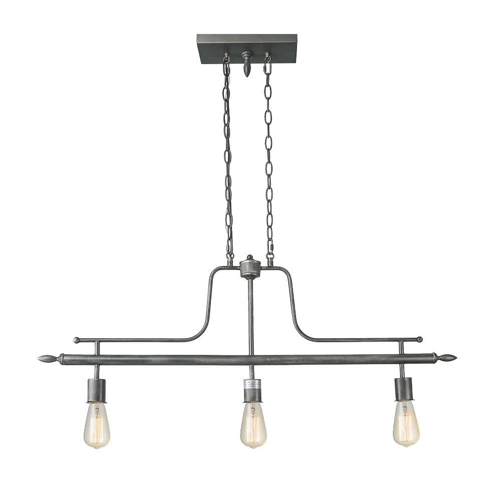 LNC 3-Light Linear Billiard Island Chandeliers Antique Silver Pool Table Lights by LNC