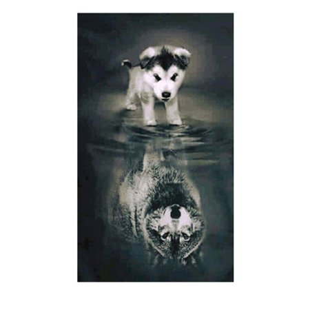 Embroidery Handicrafts Dog Reflection Painting Diamond Cross-stitch Office Decor Picture 5D DIY Needlework Stitchwork Drawing