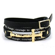 Serenity Prayer Leather Wrap Bracelet With Cross AA Al anon 12 Step