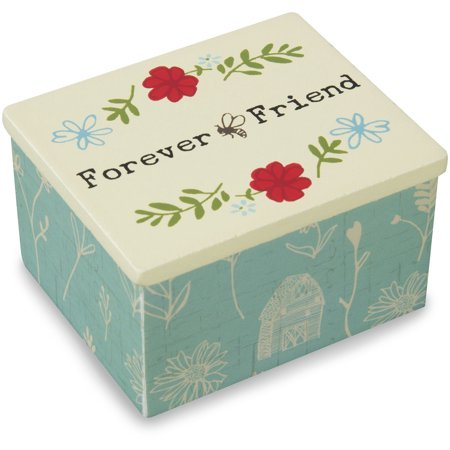 Live Simply   Forever Friend Teal Floral Bee Jewelry Keepsake Box