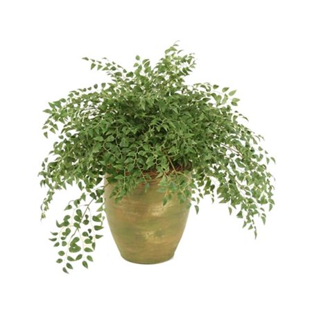 Distinctive Designs 2558 Silk Smilax Plant Wreathed with Honeysuckle Vines in Olive Green Stoneware