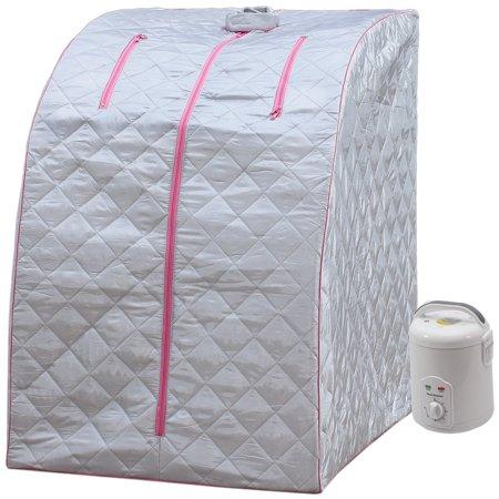 Portable Lightweight SPA Home Radiant Steam Sauna Pink Trim by -