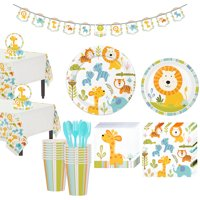 Happy Jungle Lion Premium Baby Shower Tableware Kit for 16 Guests, with Banner