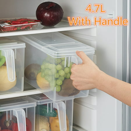 4.7L Clear Organizer Refrigerator Storage Bin Box Plastic Food Pantry Kitchen Crisper Sealed Food Fruit Vegetable Kitchen Storage Container With Handle + Lid