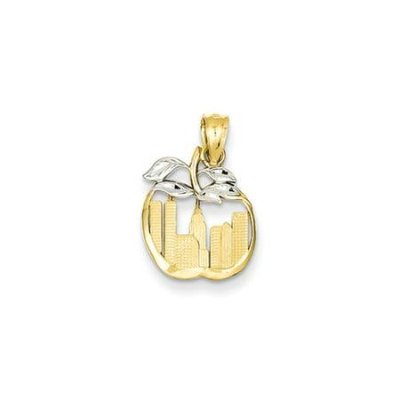 14k Yellow Gold and White Rhodium New York Skyline Apple Pendant