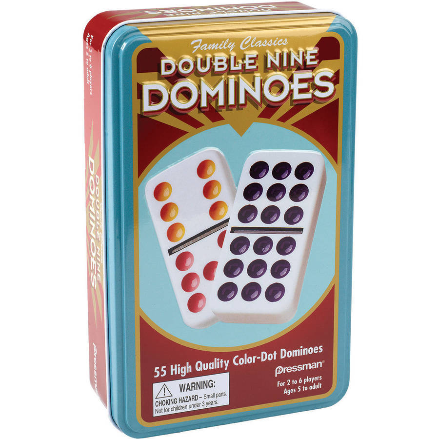 Double Nine Color Dot Domino Set in Tin