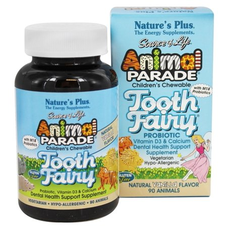 Nature's Plus - Animal Parade Tooth Fairy saveur vanille naturelle pour probiotique enfants - 90 comprimés à croquer