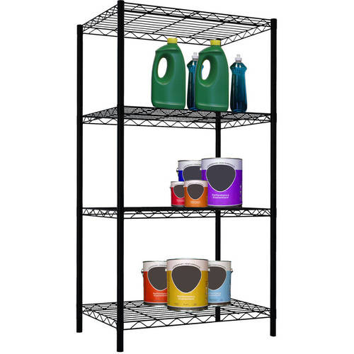 Home Basics 4-Tier Steel Wire Shelf, Black