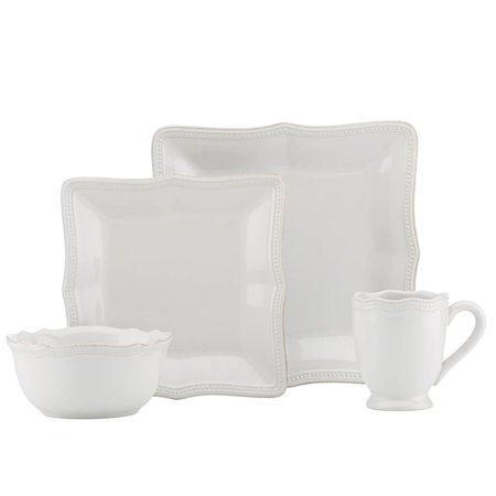 Lenox French Perle 4 Piece Dinnerware Set in White