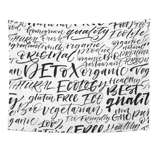 Zealgned Eco Pattern Phrases Detox Organic Gluten Free Vegetarian Fresh Food Best Non Gmo Ecology And Others Ink Wall Art Hanging Tapestry Home Decor For Living Room Bedroom Dorm 60x80 Inch
