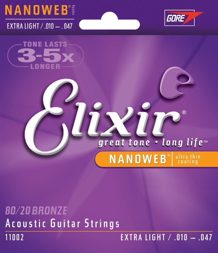 Strings 80 20 Bronze Acoustic Guitar Strings w NANOWEB Coating, Extra Light (.010-.047),... by