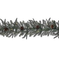 6' Green and Brown Pre-Lit LED Indoor and Outdoor Christmas Decorative Garland