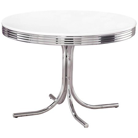 GHP 154-Lbs Capacity White & Chrome Metal & MDF Retro Style Curved Legs Dining Table