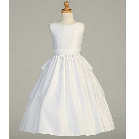 White Satin Pearled Tea Length First Communion Dress Girls 14 - Communion Dress Sale
