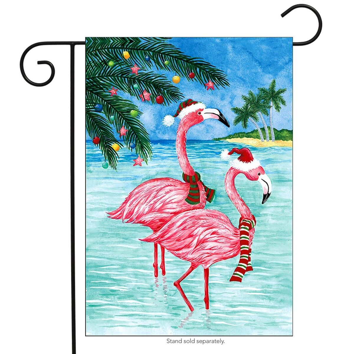 "Christmas Flamingos Nautical Garden Flag Tropical Holiday Beach 12.5"" x 18"""