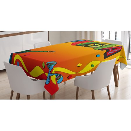 Fiesta Tablecloth, Latino Pattern with Swirled Stripe Frame with Musical Instruments Confetti Design, Rectangular Table Cover for Dining Room Kitchen, 60 X 84 Inches, Multicolor, by Ambesonne - Fiesta Tablecloths