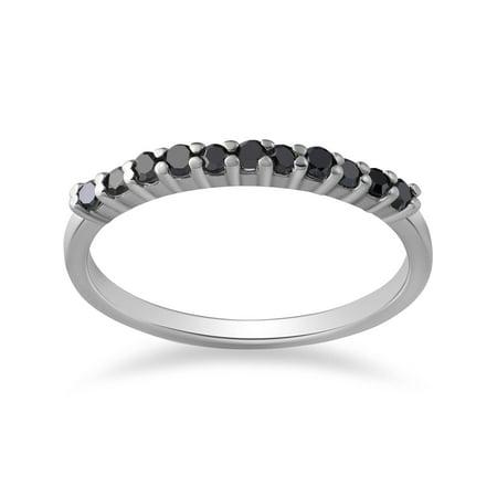 14K White Gold 1/4ct Treated Black Diamond Wedding Anniversary Guard Ring
