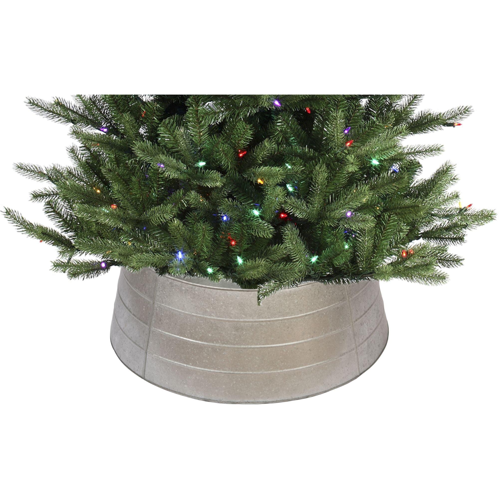 28 Silver Rustic Christmas Galvanized Tree Collar Walmart Com Walmart Com