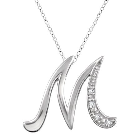 Diamond Accent Initial letter M Pendant Necklace in Sterling Silver
