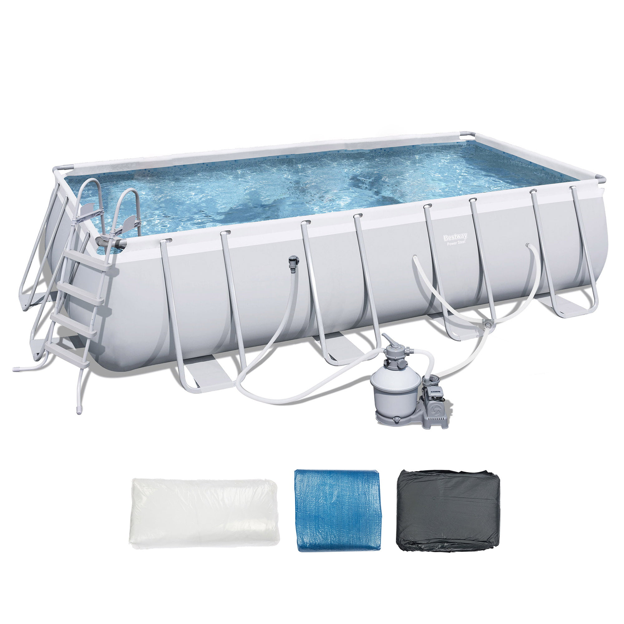 "Bestway 18'x9'x48"" Rectangular Frame Above Ground Pool Set with Ladder & Pump by Bestway"